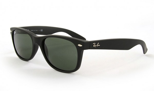 Ray Ban New Wayfarer RB 2132 622 55 Black Rubber Crystal Green