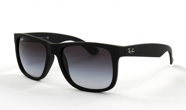 Ray Ban Justin RB 4165 601 8G 54 Rubber Black Grey Gradient