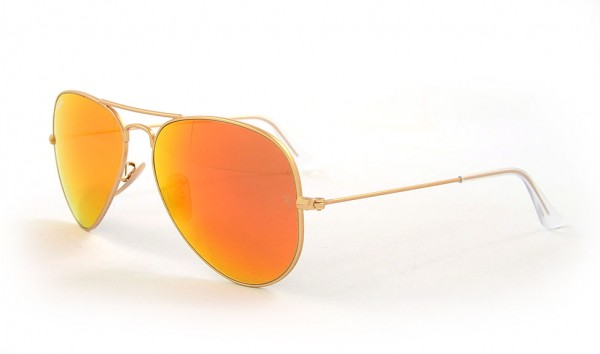 Ray Ban Aviator Large Metal RB 3025 112-69 58 Matte Gold Crystal Brown Mirror Orange
