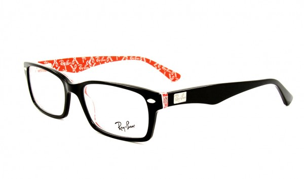 Ray Ban RX 5206 2479 54 Black Red Texture