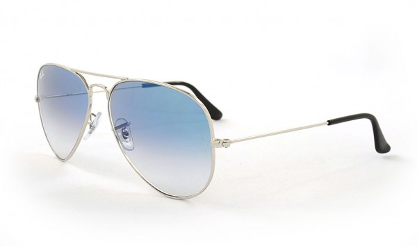 Ray Ban Aviator Large Metal RB 3025 003-3F 58 Silver Crystal Gradient Light Blue