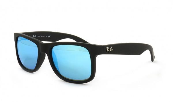 Ray Ban Justin RB 4165 622-55 3N 51 Black Rubber Green Mirror Blue