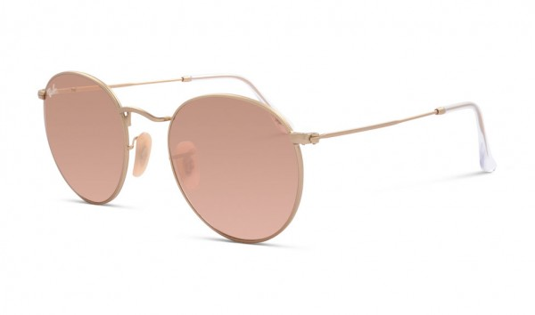 Ray Ban Round Metal RB 3447 112-Z2 50 Matte Gold Brown Mirror Pink