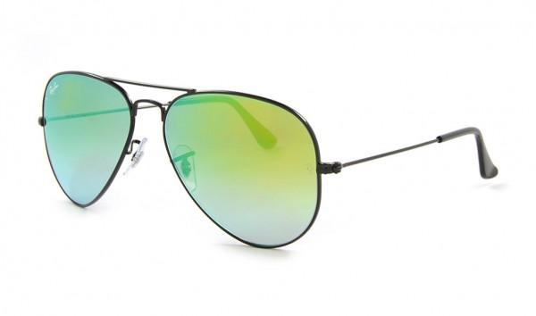 Ray Ban RB 3025 002-4J 62 Shiny Black Mirror Gradient Green