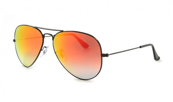 Ray Ban Aviator Large Metal RB 3025 002-4W 58 Shiny Black Mirror Gradient Red