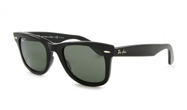 Ray Ban Wayfarer RB 2140 901-58 50 Black Crystal Green Polarized
