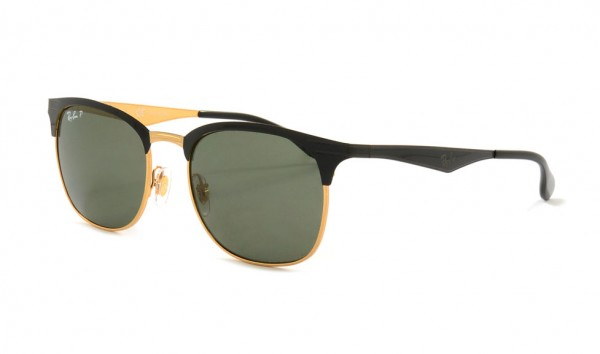Ray Ban RB 3538 187-9A Top Shiny Black On Gold Dark Green Polar