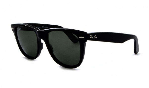 Ray Ban Wayfarer RB 2140 901-58 54 Black Crystal Green Polarized